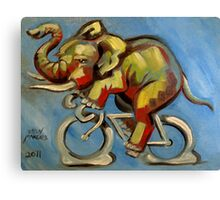Elephas Maximus on a Bicycle Canvas Print