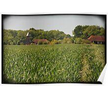 Kentish Landscape with oast houses, England Poster
