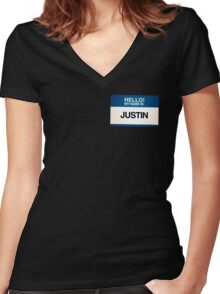 NAMETAG TEES - JUSTIN Women's Fitted V-Neck T-Shirt