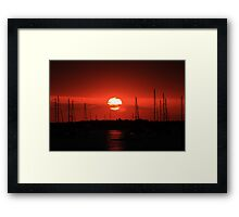 beautiful sunrise over the harbor Framed Print