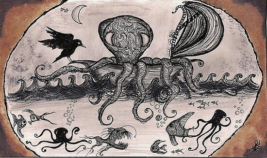 The Octopus Voyager in the briny deep by InkyDreamz
