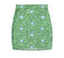Country-style Blue Green Floral Periwinkle Pattern Mini Skirt