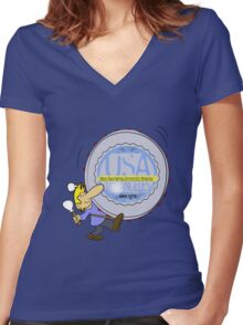 usa california tshirt by rogers bros Women's Fitted V-Neck T-Shirt