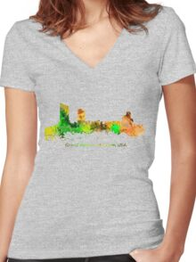 Watercolor Skyline of Grand Rapids  Michigan USA Women's Fitted V-Neck T-Shirt