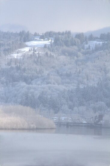 columbia river and snow by Dawna Morton