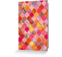Hot Pink, Gold, Tangerine & Taupe Decorative Moroccan Tile Pattern Greeting Card