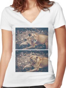 """Whatcha lion around for?"" Women's Fitted V-Neck T-Shirt"