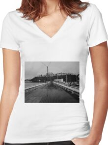 Cold desolate pier Women's Fitted V-Neck T-Shirt