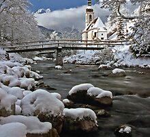 Ramsau Chapel with Snow, December 1985 #2 by David J Dionne