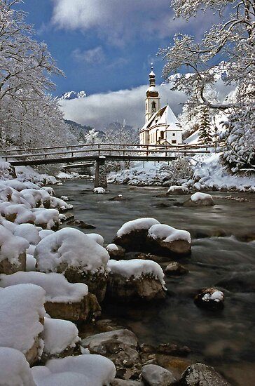 Ramsau Chapel with Snow, December 1985 #2 by David J Dionne