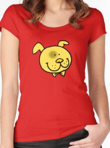 Funny yellow dog cartoon face Women's Fitted Scoop T-Shirt