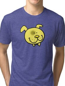 Funny yellow dog cartoon face Tri-blend T-Shirt