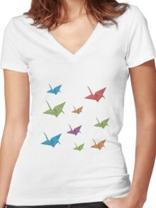 Paper Cranes Women's Fitted V-Neck T-Shirt