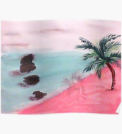 Palm Tree Series, 3 Rocks in Ocean,  watercolor Poster