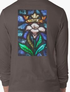 Lilly, Crown, Stained Glass, Window, Tossa del Mar, Spain, Spanish Long Sleeve T-Shirt