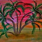 Many palm  trees  on beach at sunset,,ahhh  in watercolor by Anna  Lewis, blind artist