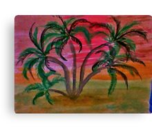 Many palm  trees  on beach at sunset,,ahhh  in watercolor Canvas Print