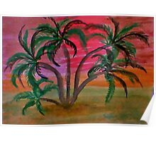 Many palm  trees  on beach at sunset,,ahhh  in watercolor Poster