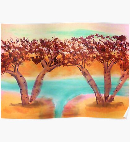Birch trees by water in watercolor Poster