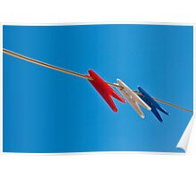 Perfect Day - Pegs on a clothesline on bluesky Poster