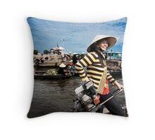 'Smile: Woman at the Floating Market.' Mekong Delta, Vietnam Throw Pillow