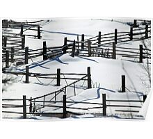 Snow Crossing Fences Poster