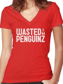 Wasted Penguinz Women's Fitted V-Neck T-Shirt