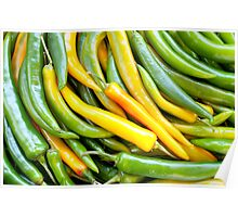 Green hot pepper chile Poster