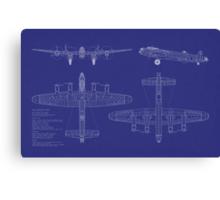 Avro Lancaster Bomber Blueprint Canvas Print