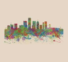 Watercolor skyline of Detroit United States by chris2766