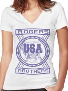 usa california hoodie by rogers bros co Women's Fitted V-Neck T-Shirt