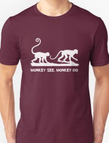 Monkey See Monkey Do 2 Monkeys White Silhouette T-Shirt