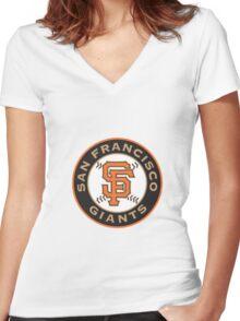 san francisco giants logo Women's Fitted V-Neck T-Shirt