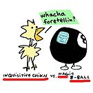 Inquisitive Chicken versus Magic 8 Ball (color!) by Ollie Brock