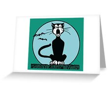 Retro Halloween Howling Cartoon Cat with Blue Moon Greeting Card