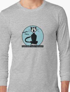 Retro Halloween Howling Cartoon Cat with Blue Moon Long Sleeve T-Shirt