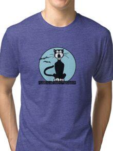 Retro Halloween Howling Cartoon Cat with Blue Moon Tri-blend T-Shirt