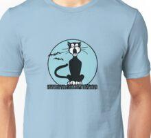 Retro Halloween Howling Cartoon Cat with Blue Moon Unisex T-Shirt