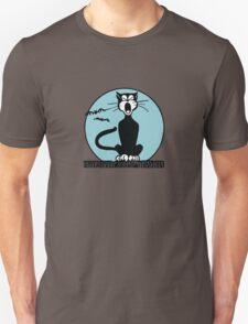 Retro Halloween Howling Cartoon Cat with Blue Moon T-Shirt