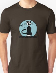 Retro Halloween Howling Cartoon Cat with Blue Moon T-Shirt