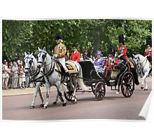 Her Majesty The Queen in a horse drawn carriage Poster