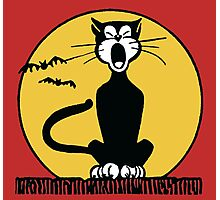Retro Halloween Howling Cartoon Cat with Orange Moon Photographic Print
