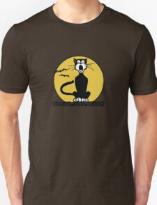 Retro Halloween Howling Cartoon Cat with Orange Moon T-Shirt