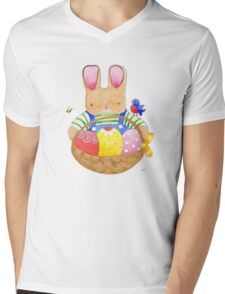 little bunny with his basket Mens V-Neck T-Shirt