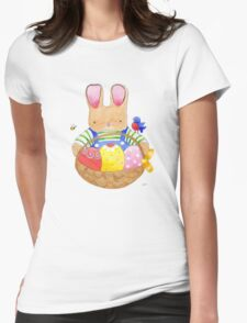 little bunny with his basket Womens Fitted T-Shirt