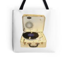 Vintage 1950s record player with vinyl record Tote Bag