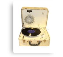 Vintage 1950s record player with vinyl record Canvas Print