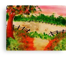Old Pasture with Broken Fence, Tree, in watercolor Canvas Print