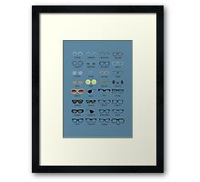 Glasses - Blue Background Framed Print
