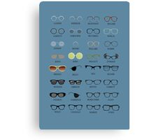 Glasses - Blue Background Canvas Print